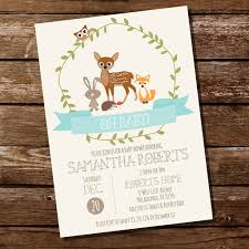 woodland baby shower invitations woodland baby shower invitation for a boy teal baby shower