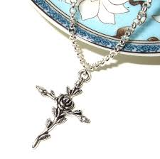 rose cross necklace images Rose cross necklace crucifix pendant silver cross simple jpg