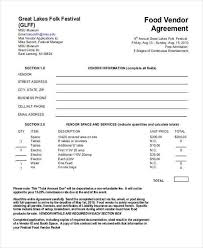 food vendor contract sample vendor contract template 9 free