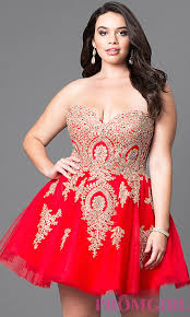 Red Cocktail Dress Plus Size Plus Size Beaded Lace Homecoming Dress Promgirl