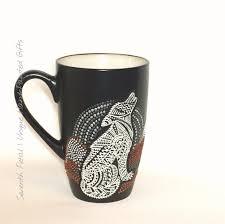 wolf mug hand painted cup wolf art howling wolf dot art wolf