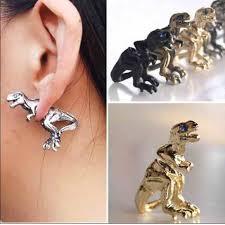 t rex earrings t rex side earrings 2 gold blue faux rines os from s