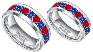 camo wedding bands his and hers rebel flag ring silver rebel ring with dixie flag south states