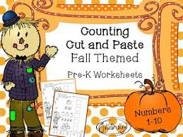 counting skill 1 10 cut and paste fall themed prek worksheet