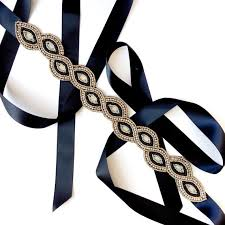 black ribbon belt beaded gold and black belt sash custom satin ribbon
