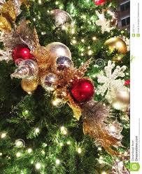 beaded ornaments on outdoor tree stock photo