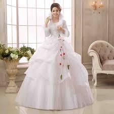 muslim bridal white organza sleeves cheap wedding dresses 2017 winter warm