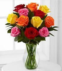 Dozen Roses Mixed 1 Dozen Roses Vase Included Flowers Bouquet