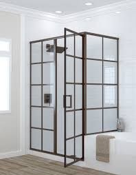 patterned glass shower doors framed shower doors grid pattern metropolis series