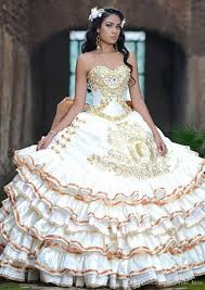gold quince dresses 2017 new white gold satin gowns embroidery quinceanera