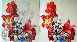skulls and flowers how we design a tattoo dark design graphics