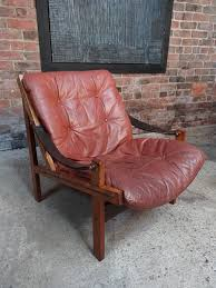 Leather Armchairs Vintage Sam Larsson Brown Leather Sling Armchair Larsson Scandinavian