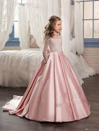 cute blush pink girls pageant dresses sleeves long a line junior