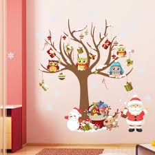 online get cheap glass wall panels aliexpress com alibaba group fashion christmas decoration sticker christmas trees owl santa claus design vinyl decal for kid room wall