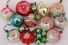 vintage antique glass tree ornaments shabby worn fancy