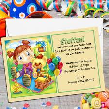 10 personalised teddy bear picnic birthday party invitations n15
