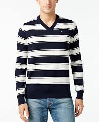 v neck sweater s hilfiger s striped v neck sweater created for macy s