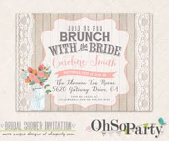 bridal shower invitations brunch shabby brunch custom bridal brunch invitation card by ohsoparty