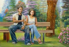 lovers on a bench oil painting figures painting india indians