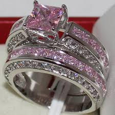 Pink Diamond Wedding Ring by Mmdgem Eternity Engagement Lady U0027s 925 Sterling Silver Princess Cut