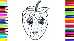 coloring book funny strawberry drawing pages to color for kids