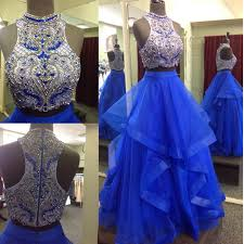quinceanera dresses new 2 pieces royal blue gown prom dresses two pieces