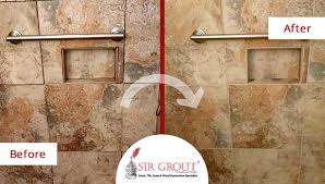 Grout Cleaning And Sealing Services This Travertine Bathroom In Fort Myers Went From Dirty To Pristine