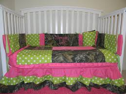Pink Camo Baby Bedding Crib Set 4 Pc Crib Set With Mossy Oak Fabric With Pink And Lime Polka Dots
