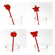 lovely gift five patterns plastic straw stir