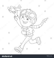 coloring page outline cartoon boy toy stock vector 431930242
