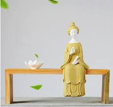 wood root carving base zen entonement ceramic