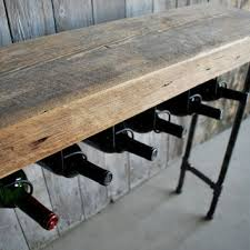3 ft reclaimed wood wine bar and rack console table with pipe legs