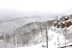 north carolina mountain cabin rentals with a view on a snowy day