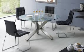 clear glass round top modern dining table w metal base u0026 options