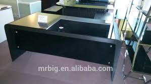 Black Tempered Glass Computer Desk Tempered Glass Desk L Shaped Glass Desk With Chrome Frame In Black