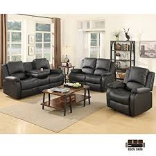 3 piece recliner sofa set amazon com suncoo 3 piece bonded leather recliner sofa set with cup