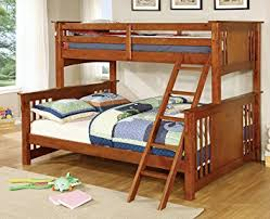 amazon com furniture of america denny twinxl queen bunk bed oak