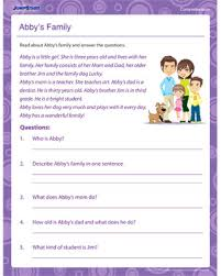 abby u0027s family u2013 comprehension worksheets and printables u2013 jumpstart