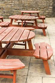 Pub Patio Furniture Pub Outdoor Seating Uk Stock Photo Image Of Circular 63069318