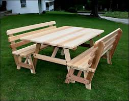 Wooden Picnic Tables With Separate Benches Picnic Tables