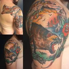 my michigan themed tattoo by chad hunt of name brand tattoo ann