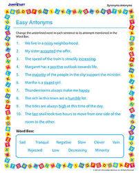 easy antonyms u2013 free antonyms worksheet for 3rd grade u2013 jumpstart