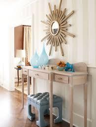 Sunburst Wall Mirror With Elegant Beige Console Table Decorating