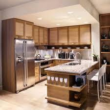 elegant brown wooden l shape transitional furniture kitchen
