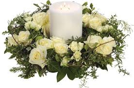 flower candle rings white wreath and candle the flower room bedfordshire