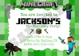 minecraft birthday invitation template graduations invitations