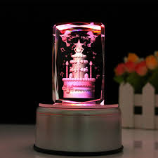 Engraved Music Box Engraved Music Box Crystal Birthday Cake Colorful 3d Rotating Cu