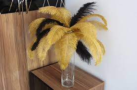 Feather Vase Centerpieces by Amazon Com 50 Gold U0026 50 Black Ostrich Feather For Wedding Table