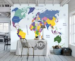 children s world map wallpaper removable wall mural animal world map removable wallpaper peel and stick map wall sticker study room ocean wall paper aqua