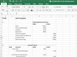 Credit Debit Balance Sheet Excel by How To Solve P3 6a Solis Company Campushippo
